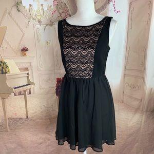 Lily Rose Black Sheer Lace Detail Dress